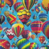 Colourful Hot Air Balloons on Blue Up in a Air Sky Quilting Fabric