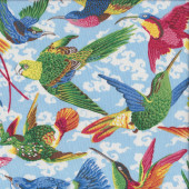 Colourful Birds Parrots Quilt Fabric