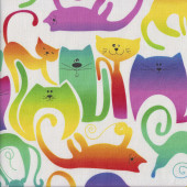 Bright Colourful Cats on White Balls of Yarn Quilting Fabric