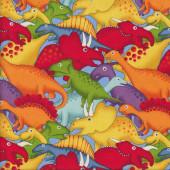 Bright Colourful Dinosaurs Lost World Quilting Fabric