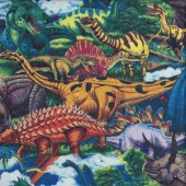 Colourful Dinosaurs T Rex Stegosaurus Quilting Fabric