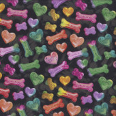 Colourful Rainbow Coloured Dog Treats on Black Pet Quilting Fabric