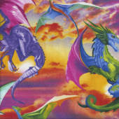 Bright Colourful Mythical Dragons Quilting Fabric