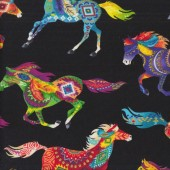 Colourful Horses on Black Western Country Quilting Fabric