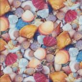 Colourful Shells Beach Ocean Sea Quilting Fabric