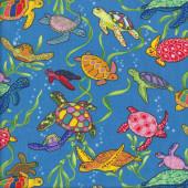 Turtles on Blue Ocean Wildlife Quilting Fabric