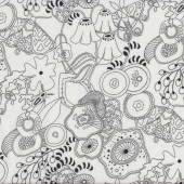 Butterflies on White Floral Quilting Fabric