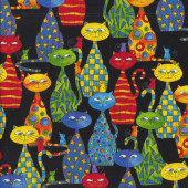 Colourful Comical Cats Mice on Black Quilting Fabric