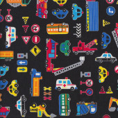 Traffic Signs Assorted Cars Quilting Fabric
