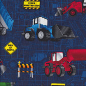 Construction Bulldozer Truck Quilting Fabric