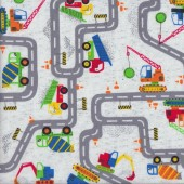 Roads Construction Wrecking Ball Machines on White Quilting Fabric
