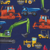 Construction Truck Steam Roller Quilting Fabric