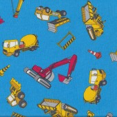 Fun Construction Yellow Cement Trucks and Bulldozers on Light Blue Fabric