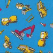 Fun Construction Yellow Cement Trucks and Bulldozers on Light Blue Fabric