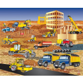 Busy Builders Construction Steamroller Bulldozer Truck Quilting Fabric Panel