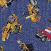 Earth Moving Construction Blue Bobcat Cement Truck Quilt Fabric