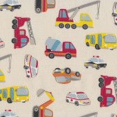Trucks Crane Police Car Bus Fabric