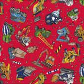 Construction Bulldozer Cement Dump Truck Digger Red Quilt Fabric