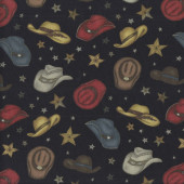 Cowboy Hats on Black Stars Rodeo Roundup quilting Fabric