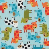 Cows on Blue Urban Zoologie Ann Kelle Quilt Fabric