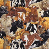 Brown Black White Cows Quilting Fabric