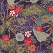 Japanese Cranes Floral Design on Purple Metallic Gold Quilting Fabric