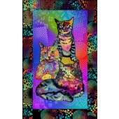 Bright Colourful Crazy For Cats Quilting Fabric Panel