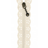Cream Lace Zip Zipper 20cm / 8 Inches