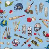 Cricket Wicket Ball Bat Sport Boys on Blue Quilting Fabric
