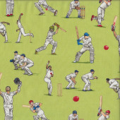Cricket Players Bat Ball Sport Boys on Green Quilting Fabric