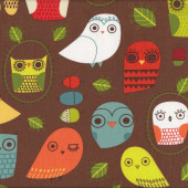 Retro Owls Leaves Critter Community on Brown Quilting Fabric