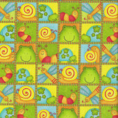 Frogs Caterpillars Snails in Squares Critters Kids Quilting Fabric