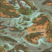 Crocodiles Fresh Water Creek River Quilting Fabric