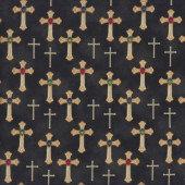 Crosses Stones on Black Quilting Fabric