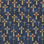 Crosses Stones on Navy Blue Quilting Fabric