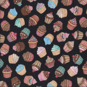 Cupcakes on Black Baking Home Quilting Fabric