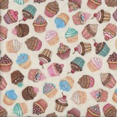 Cupcakes on Cream Baking Home Quilting Fabric