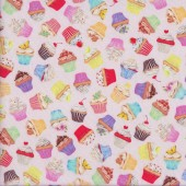 Small Cupcakes on Pastel Pink Sweet Tooth Quilting Fabric