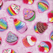 Delicious Coloured Cupcakes on Pink Kitchen Quilting Fabric