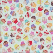 Small Cupcakes on Pastel Blue Sweet Tooth Quilting Fabric