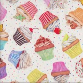 Delicious Coloured Cupcakes on White Kitchen Quilting Fabric