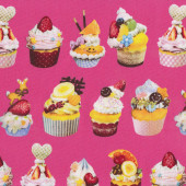 Delicious Cupcakes Strawberry Chocolate Kitchen on Pink Fabric