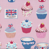 Cupcakes on Pink Teacups Union Jack Cherries Flower Sugar Maison Fabric