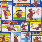 Curious George on Blue Monkey Kids Fabric