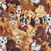 Cute Dogs Bulldog Dalmatian Collie Quilting Fabric