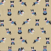 Cute Black and White Dogs on Tan Pet Quilting Fabric