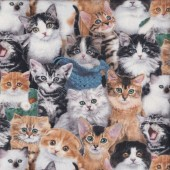 Cute Tabby Cats and Kittens Quilting Fabric