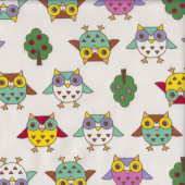 Cute Owls Trees on Cream Kids Girls Fabric