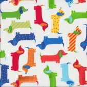 Cute Colourful Dachshunds on White Dogs Quilting Fabric