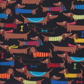 Brown Dachshunds with Knitted Coats Quilting Fabric